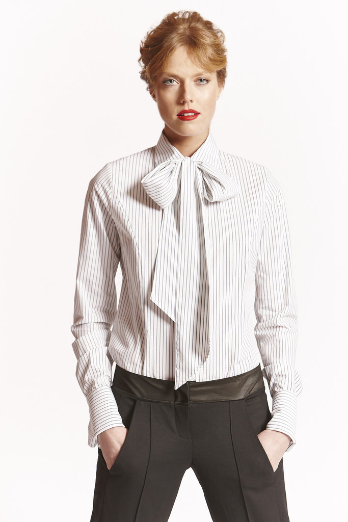 Pin Stripe Wear it Your Way (Detachable Pussy Bow) Shirt