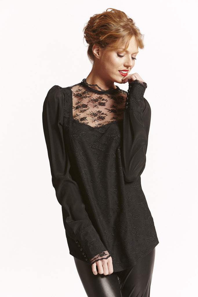 Black Lace Front Blouse