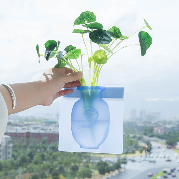 Buy Magic Rubber Silicone Sticky Flower Wall Hanging Vase