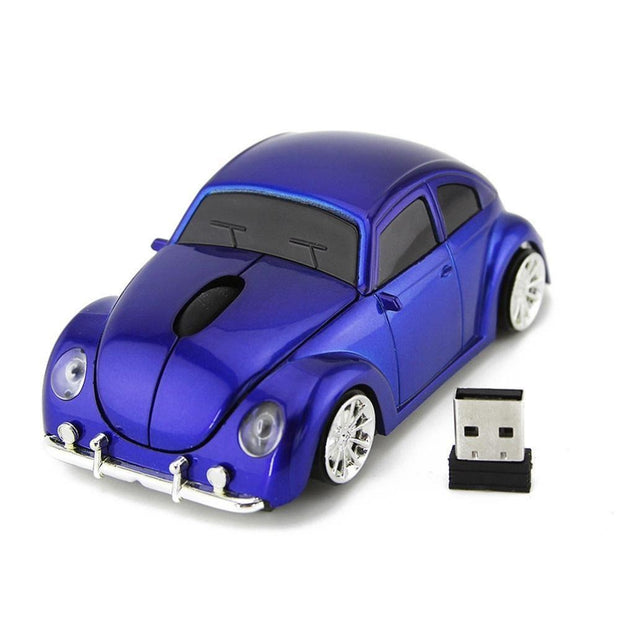 Blue Volkswagen Beetle Wireless Car Gaming Mouse
