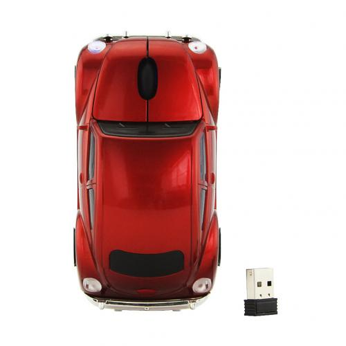 2.4 GHZ Red Volkswagen Beetle Wireless Car Gaming Mouse