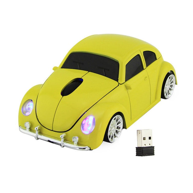 2.4 GHZ Yellow Volkswagen Beetle Wireless Car Gaming Mouse