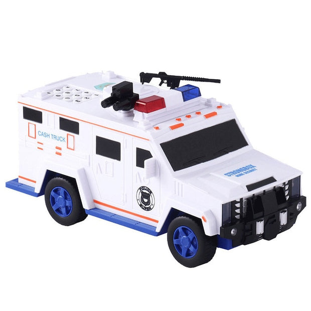 Puzzle Police Car Piggy Bank Toy - White
