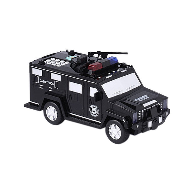 Puzzle Police Car Piggy Bank Toy - Black