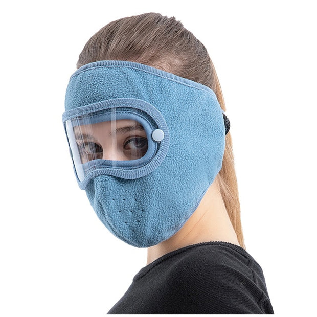 Anti-Fog Winter Mask blue color for women