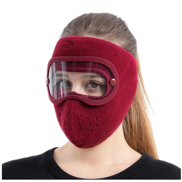 Anti-Fog Winter Mask Burgundy for Women