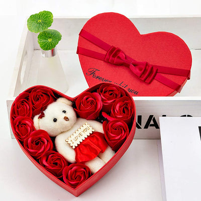 Romantic Bear Soap Rose Flower Heart Box