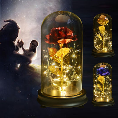 Gold Rose LED Light Galaxy Glass Dome