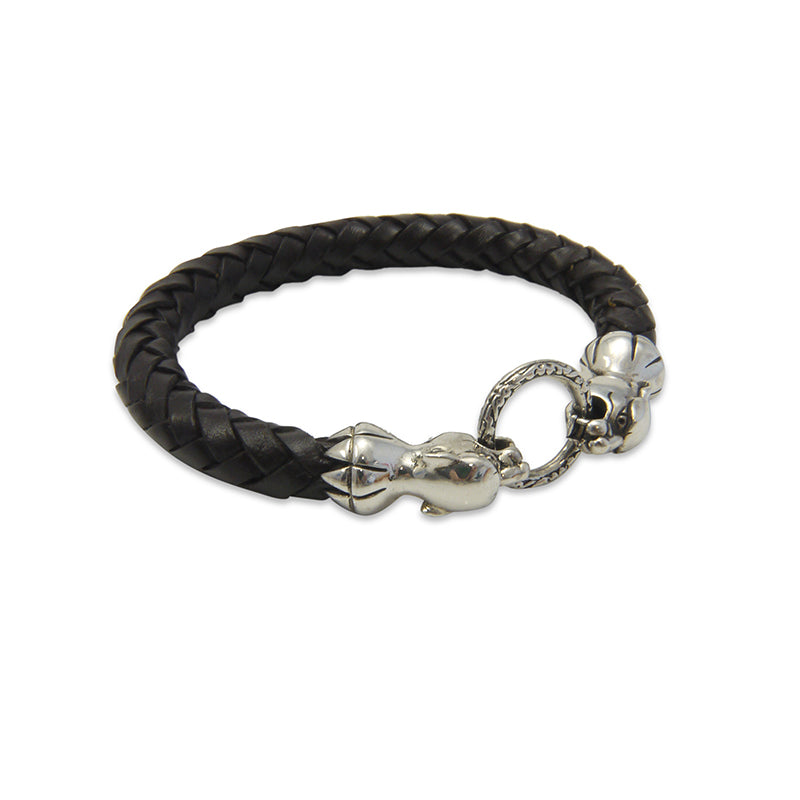 Duo Tiger Heads Sterling Silver & Black Leather Bracelet