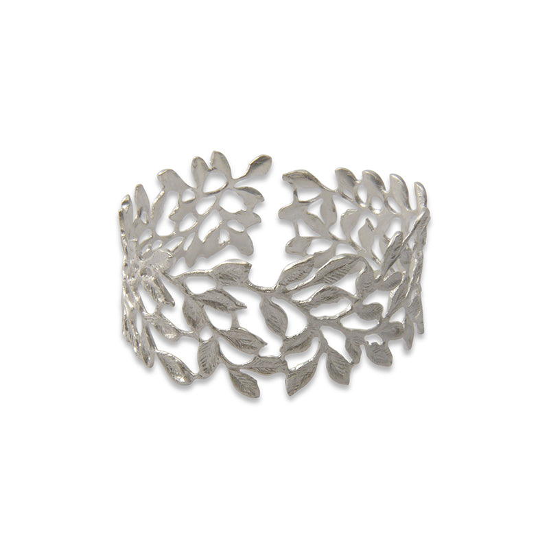 Small whole Leaf Pattern Silver Sterling Sliver Bangle