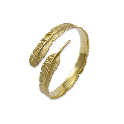 Long leaf Pattern Gold Sterling Sliver Bangle