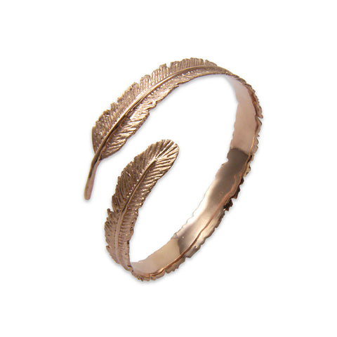 Long leaf Pattern Rose Gold Sterling Sliver Bangle