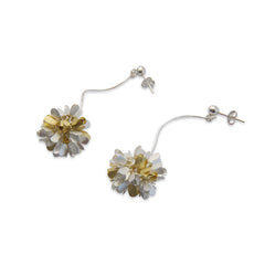Hydrangea Dangle Gold & Sliver Sterling Silver Pierced Earrings