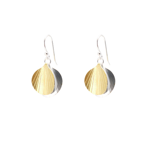 Duo Mini Orbicular Silver and Gold Sterling Silver Earrings