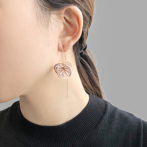Cutout 3D Twisted Sphere Rose Gold Sterling Silver Pull-Thru Earrings