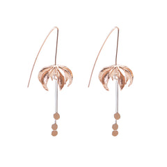 Eagle's Claw Rose Gold and Silver Sterling Silver Pull-Thru Earrings