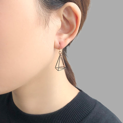 Duo 3D Cutout Pyramid Black & Rose Gold Sterling Sliver Earrings