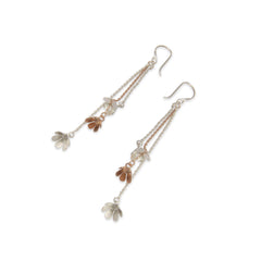 Trio Daisy With Chain Rose Gold & Sliver Sterling Sliver Earrings