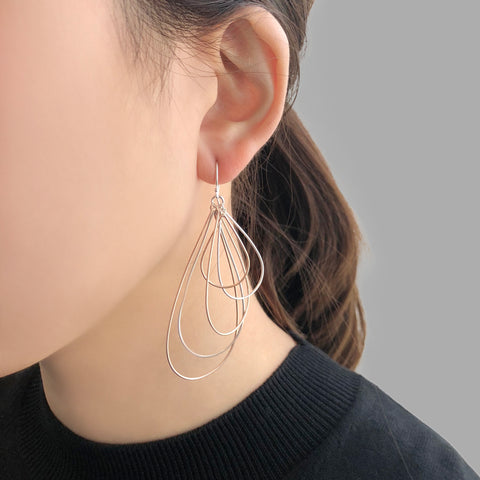 Cutout Waterdrop Rose Gold & Sliver Sterling Sliver Earrings