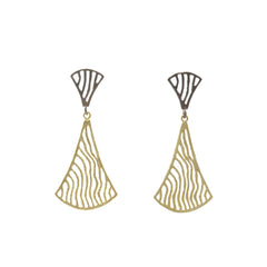Duo Wavy Fan Gold & Black Sterling Sliver Piered Earrings