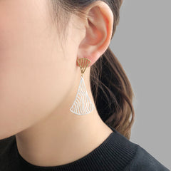 Duo Wavy Fan Gold & Sliver Sterling Sliver Piered Earrings