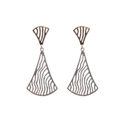 Duo Wavy Fan Rose Gold & Sliver Sterling Sliver Piered Earrings