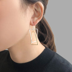 Duo Rectangle Gold & Sliver Sterling Sliver Earrings