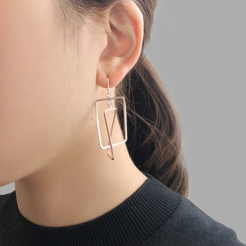 Duo Rectangle Rose Gold & Sliver Sterling Sliver Earrings