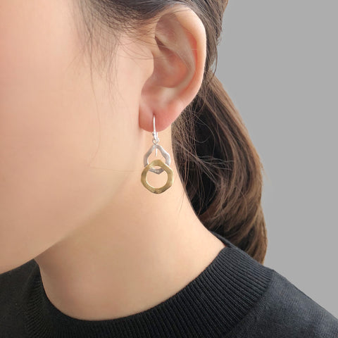 Duo Thick Circle Gold & Sliver Sterling Sliver Earrings