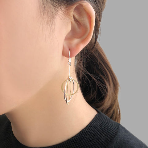 3D Cutout Circle Gold & Sliver Sterling Sliver Earrings