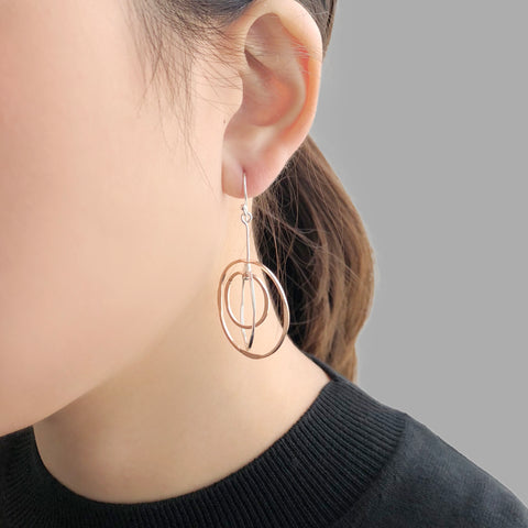 3D Cutout Circle Rose Gold & Sliver Sterling Sliver Earrings