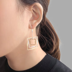 3D Cutout Square Gold & Sliver Sterling Sliver Earrings