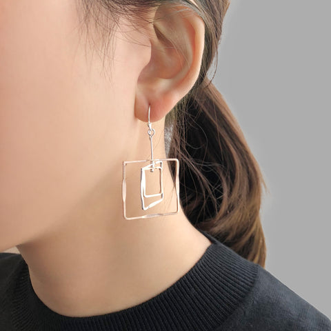 3D Cutout Square Rose Gold & Sliver Sterling Sliver Earrings