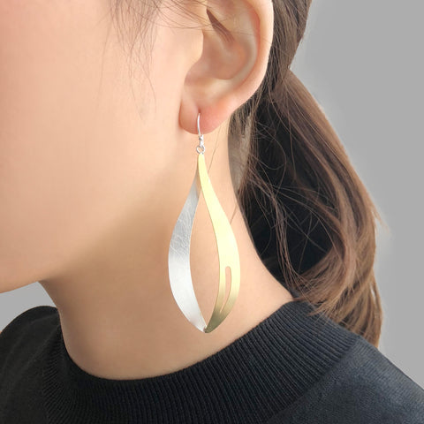 Big Waterdrop With Cutout Comma Gold & Sliver Sterling Sliver Earrings