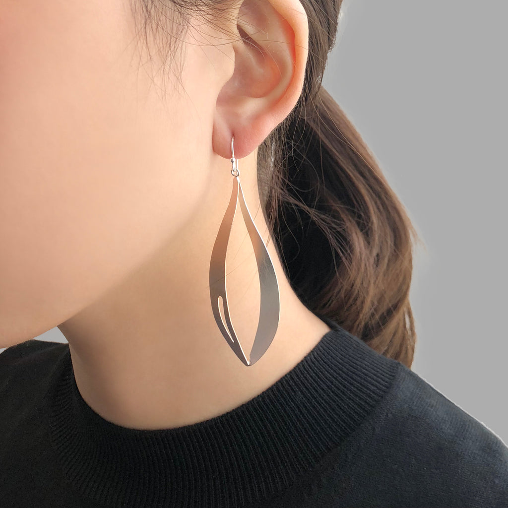 Big Waterdrop With Cutout Comma Rose Gold & Sliver Sterling Sliver Earrings
