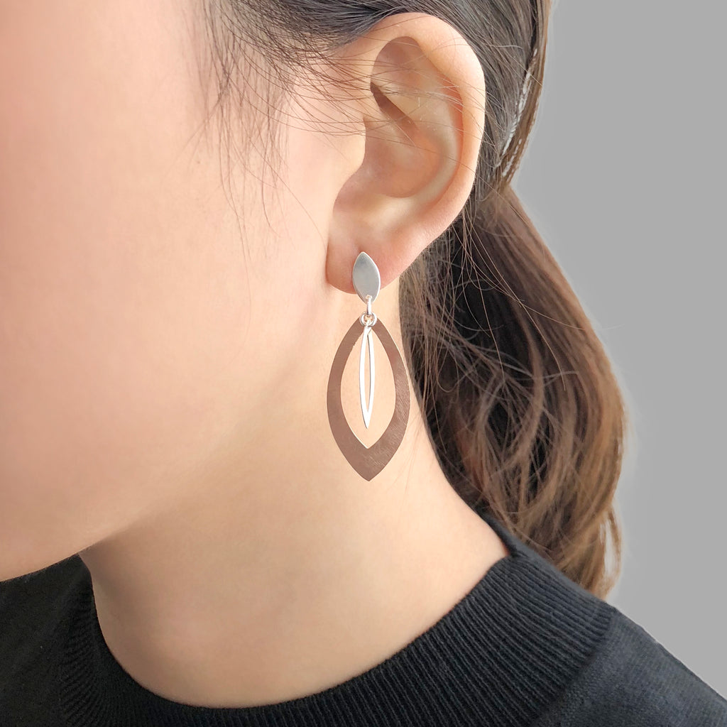 Thick Duo Waterdrop Rose Gold & Sliver Sterling Sliver Studs