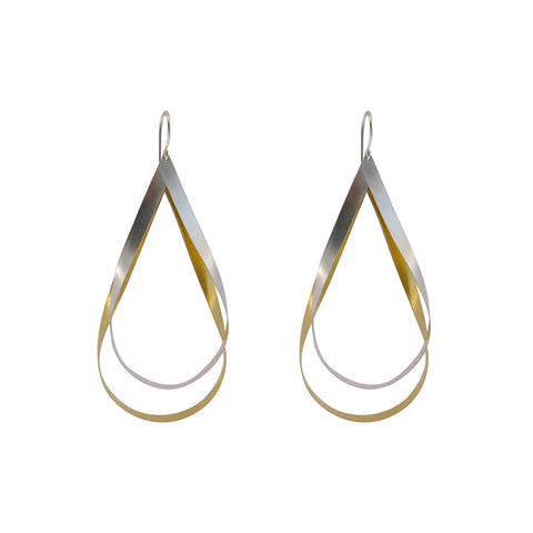 Duo Big cutout twisted waterdrop Gold & Sliver Sterling Sliver Earrings