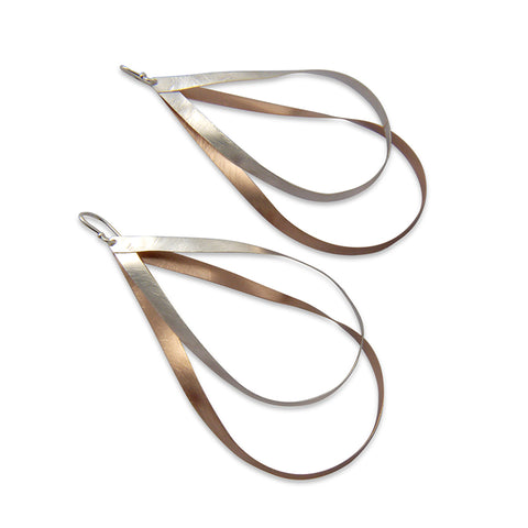 Duo Big cutout twisted waterdrop Rose Gold & Sliver Sterling Sliver Earrings