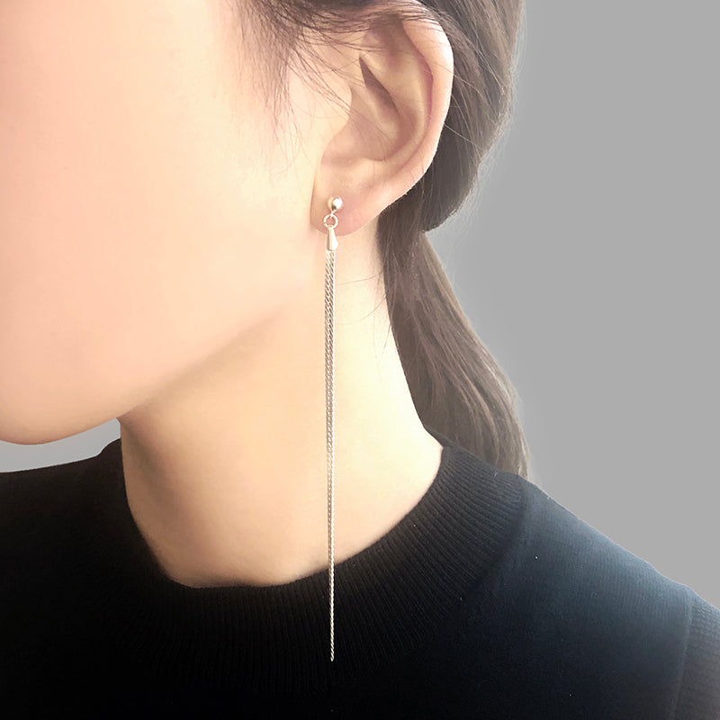 Long Tassel Silver Sterling Sliver Earrings