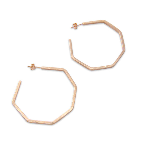 Pentagon ring Rose Gold Sterling Sliver Earrings