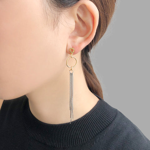 Round ring with Long Tassel Gold & Silver Sterling Sliver Earrings