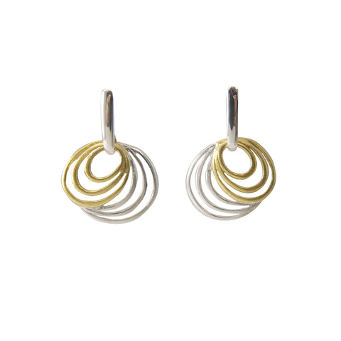 Cutout Big & small circle Gold & Silver Earrings