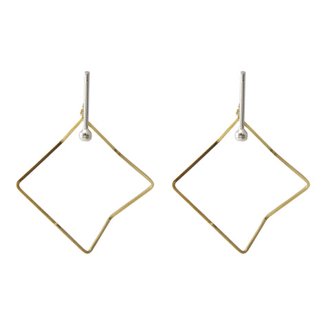 Irregular Cutout Hexagon Gold & Silver Earrings