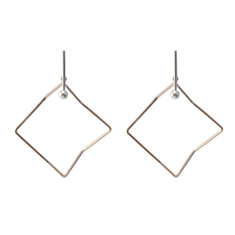 Irregular Cutout Hexagon Rose Gold & Silver Earrings