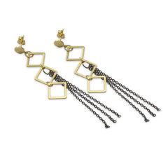 Small cutout square ring with tassels Gold & Black Earrings