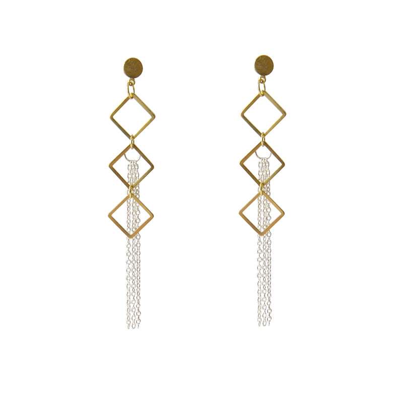 Small cutout square ring with tassels Gold & Silver Earrings