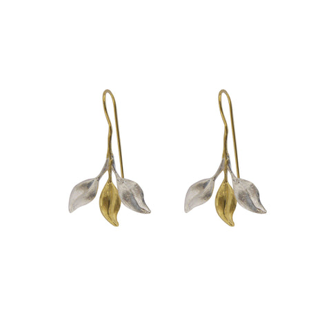 Small three whole leaves Gold & Silver Earrings