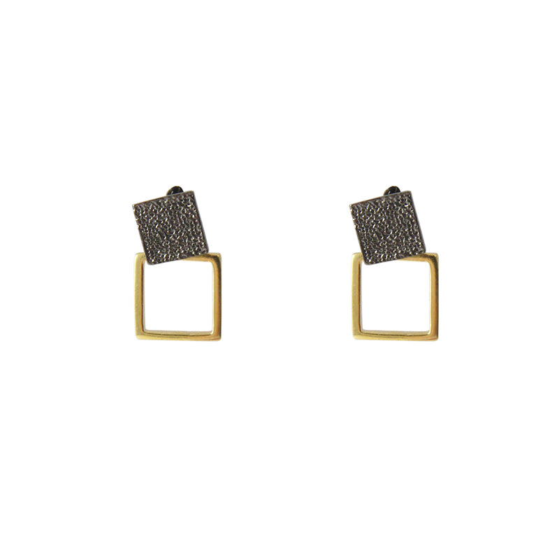 Cutout square Gold & Black Sterling Silver Earrings