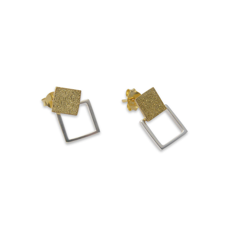 Cutout square Gold & Silver Sterling Silver Earrings