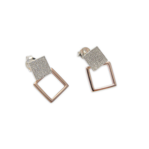 Cutout square Rose Gold & Silver Sterling Silver Earrings